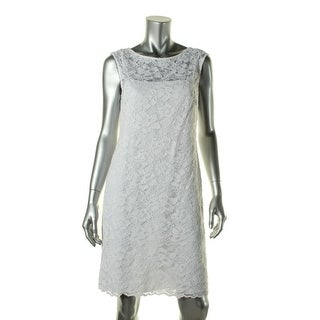 Calvin Klein Womens Petites Lace Cap Sleeves Cocktail Dress