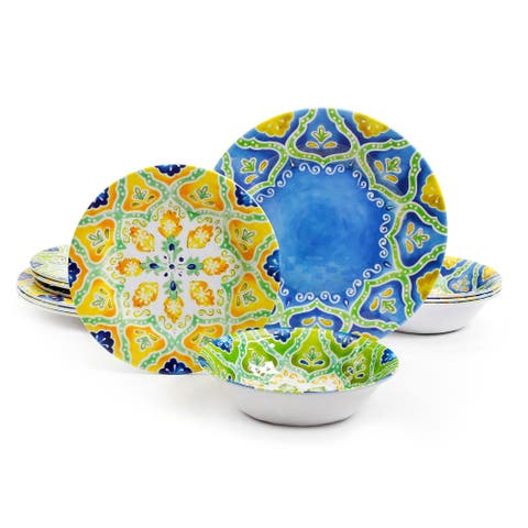 Gibson Home Seaberry 12 Piece Melamine Dinnerware Set in Assorted Designs, Service for 4