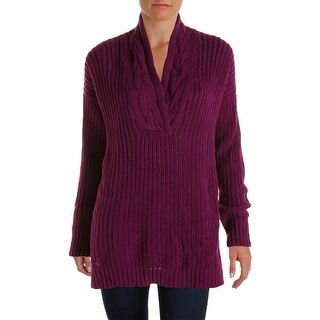 Ralph Lauren Womens Cotton Open Stitch Pullover Sweater