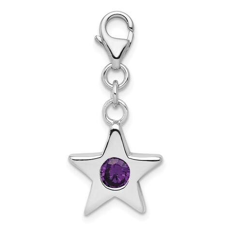 Sterling Silver Rhodium-plated February Cubic Zirconia Birthstone Star Charm with 18-inch Cable Chain by Versil