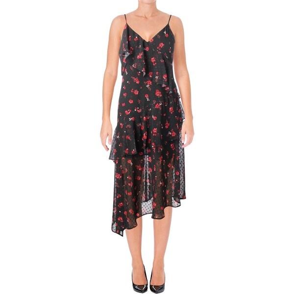 Bardot Womens Party Dress Floral Print Asymmetrical