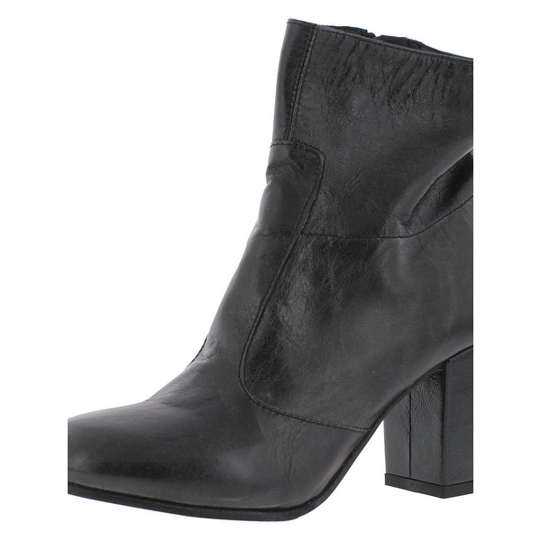 Womens Kozy Leather Block Heel Ankle Boots