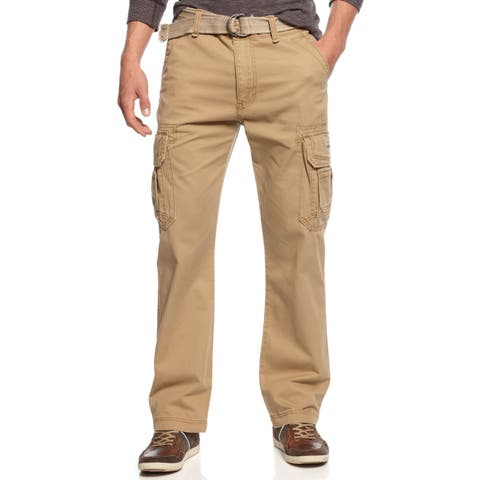 UNION BAY Mens Pants Khaki Beige Size 32 Cargo Relaxed Fit Belted