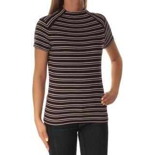 Womens Purple Striped Short Sleeve Crew Neck Top Size S