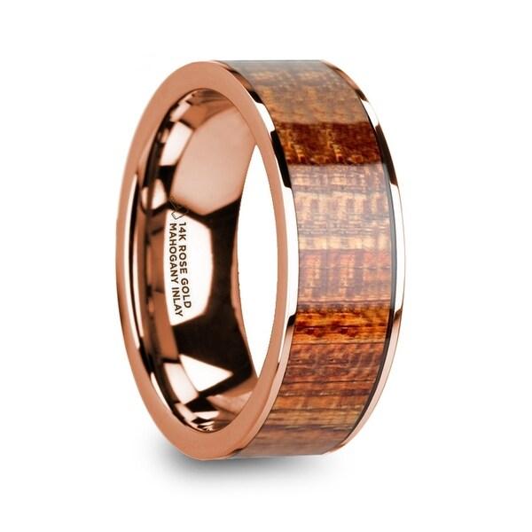 Shop OLYMPIAS 14k Rose Gold & Mahogany Wood Inlaid Men's