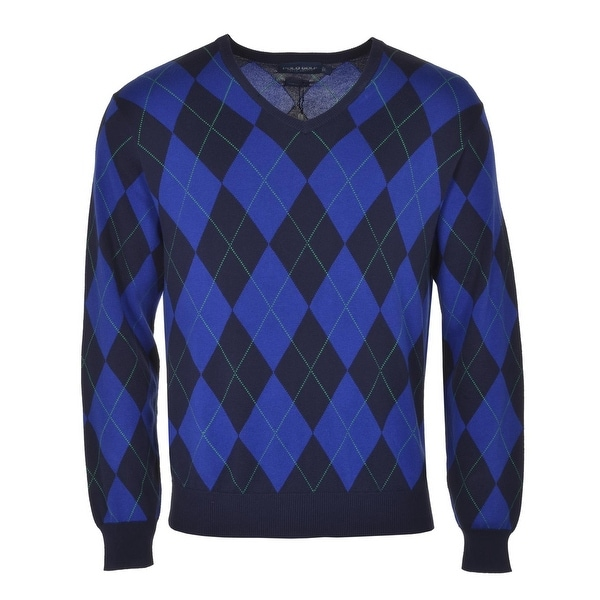Polo Ralph Lauren Argyle Golf Sweater Blue V-Neck Cotton Pullover