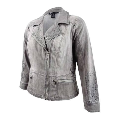 INC International Concepts Women's Plus Size Studded Moto Jacket (0X, Grey) - Grey - 0X
