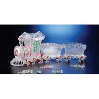 Pack of 2 Icy Crystal Decorative Candy Holder Trains 20""
