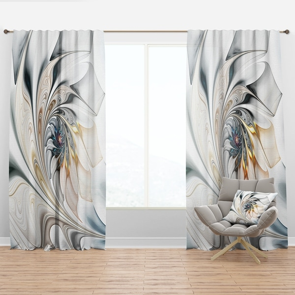 Designart 'White Stained Glass Floral' Modern Curtain Panels. Opens flyout.