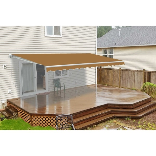 ALEKO Motorized 8 x 6.5 ft Retractable Deck Patio Awning Sand. Opens flyout.