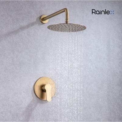 Rainlex Wall-Mounted Rainfall Shower Head Gold Brushed Shower Fixture