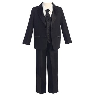 Baby Boys Black Two-Button 5 Pcs Special Occasion Tuxedo 3-24M