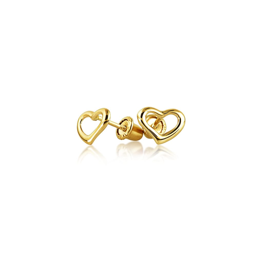 Tiny Minimalist Open Heart Shaped Stud Earrings For Women Real 14k Gold Back
