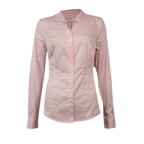 Laundry by Shelli Segal Women's Notch Cotton Buttoned Shirt - Sugar Pink