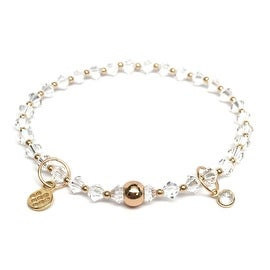 White Swarovski Crystal 'Emily' Stretch Bracelet, 14k over Sterling Silver