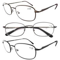 Eyekepper Spring Hinged Arms Reading Glasses 3 Pair Valupac Metal Readers +2.25