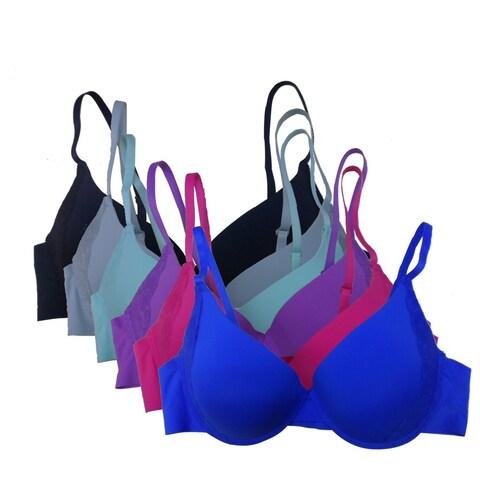 Women's 6 Pack Laser Cut Solid Color Lace Trim Push Up Bras