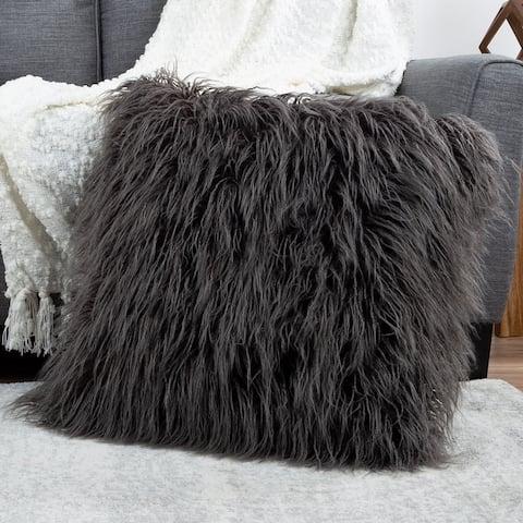 "Hastings Home 22"" Mongolian Faux Fur Pillow"