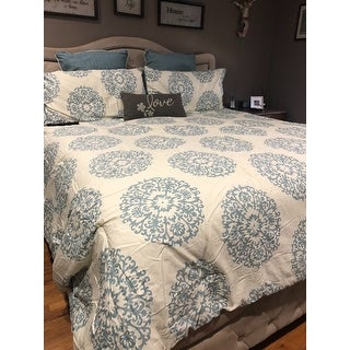 Stone Cottage Bristol Blue/ Off-White Medallion Cotton Comforter Set