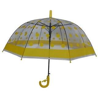 Foxfire Girls Yellow Shiny Polka Dotted Clear Dome Umbrella