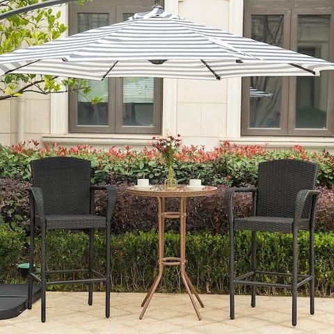 Gibford Outdoor Wicker Barstools (Set of 2)
