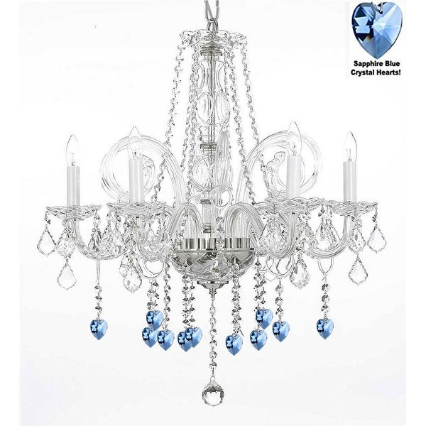 Crystal Chandelier Lighting With Blue Hearts