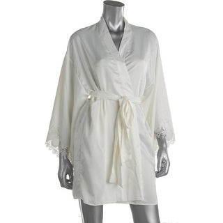 Flora Nikrooz Womens Lace Trim Flutter Sleeves Wrap Robe - S