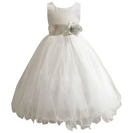 Wedding Easter Flower Girl Dress Paperio Ivory Rattail Satin Tulle (Baby - 14) Silver