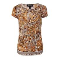 INC International Concepts Women's Cut-Out Jersey Print Blouse - Multi - xs