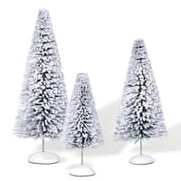 "Department 56 ""Snow Laden Sisals"" 3-Pc Christmas Accessory Set #810836 - WHITE"