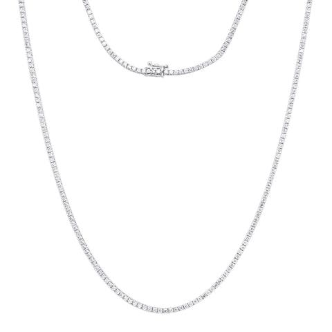 Mens Tennis Round Diamond Chain Necklace 14ctw in 14k Gold by Luxurman
