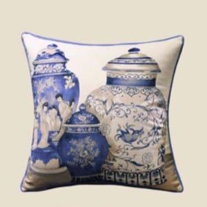 "Luxury Blue Three Vase Printing Pillow 18""X18"""