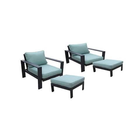 Seaside 4-Piece Outdoor Patio Seating Set by Avery Oaks Furniture - 2x Club Chairs & 2x Ottomans