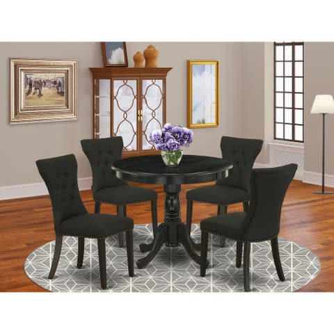 5 Pc Dining Set - Kitchen Table and Parson Chairs with Upholstered Seat (Color Option Available)