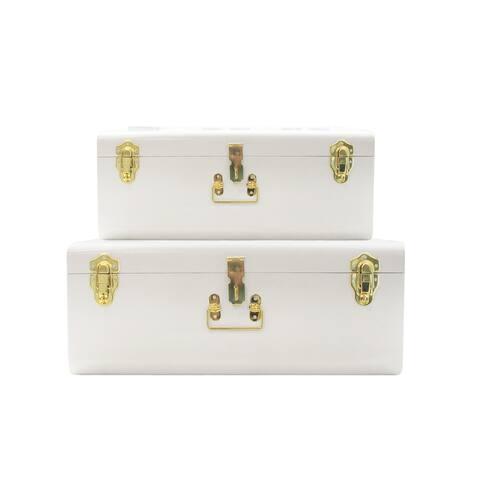 White Trunks Set of 2 -Storage w/Gold Finish Handles & Locks - m 18x10.6x7.9 - l 21.7x13x9