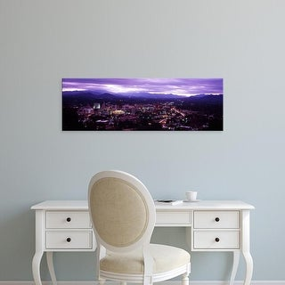 Easy Art Prints Panoramic Images's 'Aerial view of a city lit up at dusk, Asheville, North Carolina' Premium Canvas Art