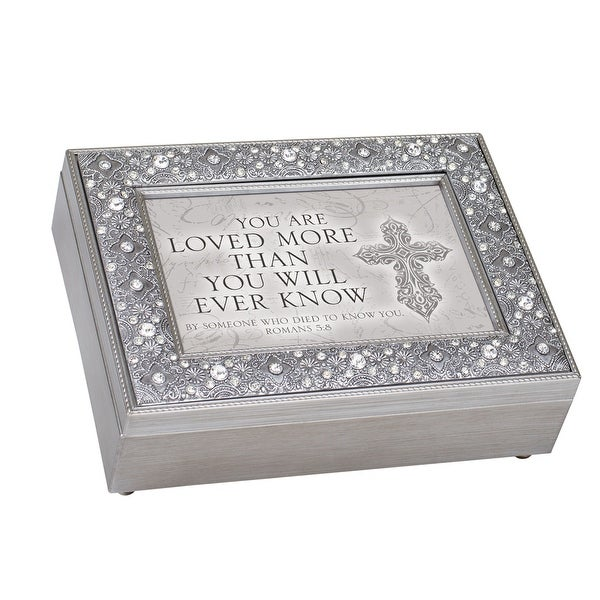 """8"""" Silver Colored and Black """"LOVED MORE THAN YOU KNOW"""" Filigree Music Box - N/A"""