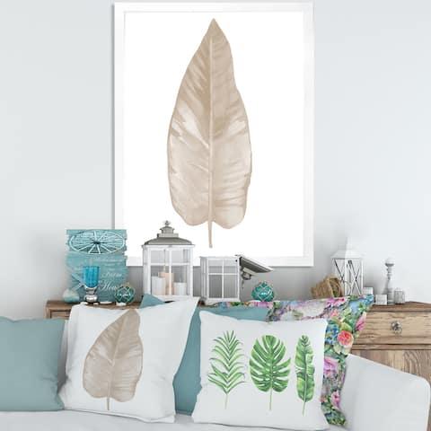 Designart 'Dried Leaf Plant Beige on White' Traditional Framed Art Print