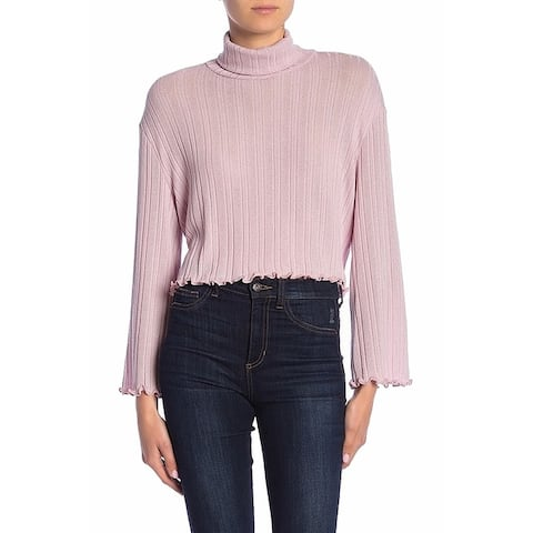 Abound Women's Pink Size Large L Turtleneck Ribbed Ruffle Trim Knit Top