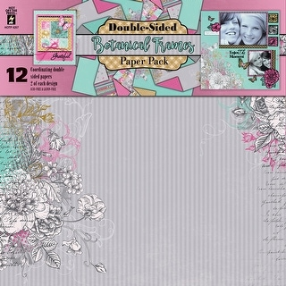 """Hot Off The Press Double-Sided Paper Pack 12""""X12"""" 12/Pkg-Botanical Frames"""