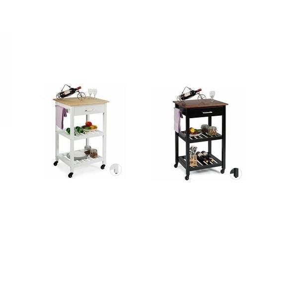 Gymax 2 in 1 Kitchen Trolley Island Cart Seving Cart w/ Open Shelves & Wheels