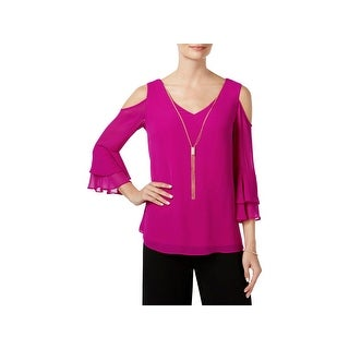MSK Womens Pullover Top Double V-Neck Ruffled