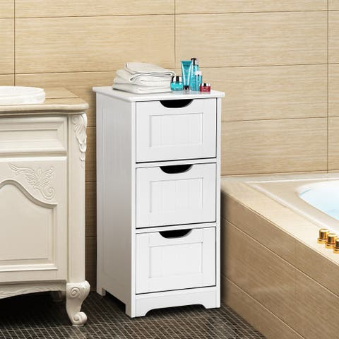 Gymax Bathroom Floor Cabinet Wooden Free Standing Storage Side