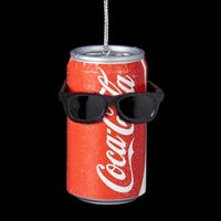 "3"" Coca-Cola Can with Sunglasses Decorative Christmas Ornament - RED"