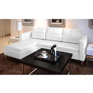 Genial VidaXL 3 Seater L Shaped Artificial Leather Sectional Sofa White