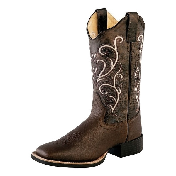 Old West Cowboy Boots Womens Stitching Square Brown Tumble