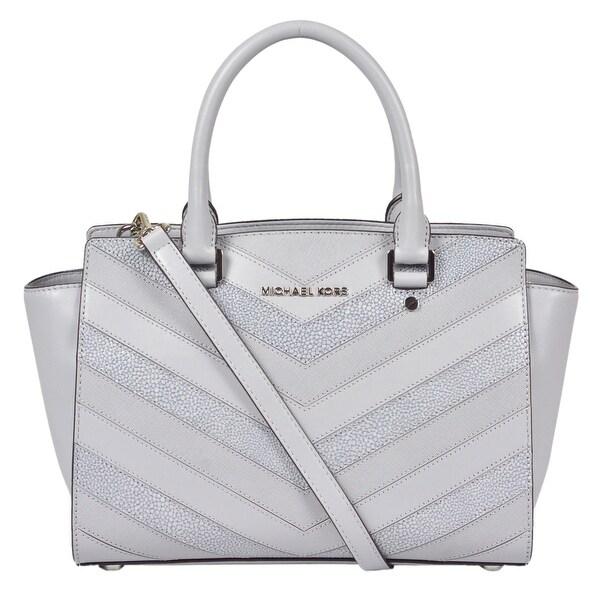5d77a07a887f6 Shop Michael Kors Medium Selma Top Zip Dove Leather Satchel Handbag - Free  Shipping Today - Overstock - 22679107