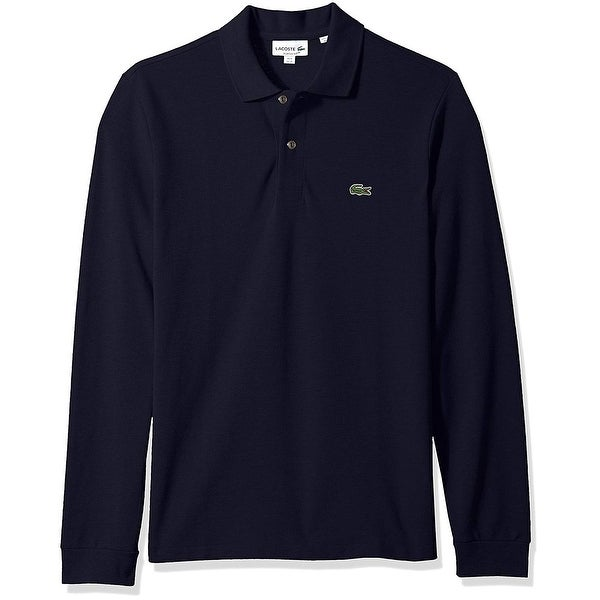 b739df8115 Lacoste Blue Mens FR 6 US XL Pique Polo Rugby Long Sleeve Shirt