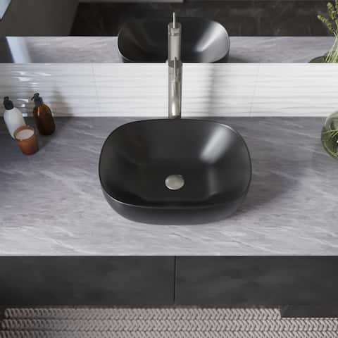 R2-5032-MB Porcelain Vessel Bathroom Sink and BN Pop-Up Drain