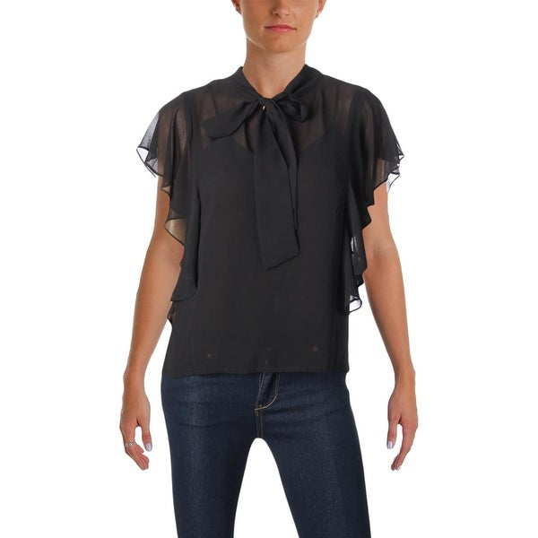 986619c85881c Shop Juicy Couture Black Label Womens Blouse Georgette Flutter Sleeves - s  - Free Shipping Today - Overstock.com - 23475866